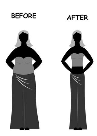before: illustration with two women - thick and thin before and after.