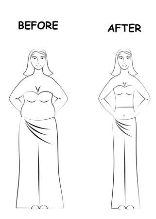 thick: illustration with two women - thick and thin before and after.