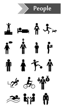 situations: Icons with people in different situations - business, leisure, relationships.
