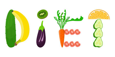bodycare: illustration with fruits and vegetables dedicated to healthy eating.