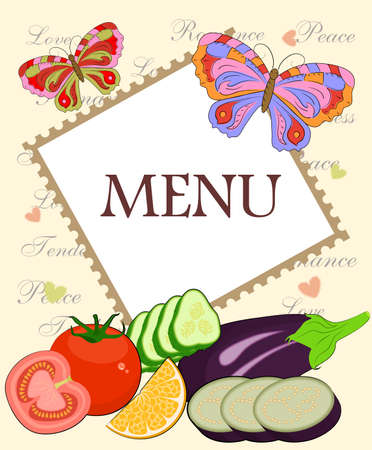 variety: Illustration - menu with a variety of fruits and vegetables.