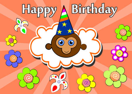 birthday greetings: the cheerful and bright illustration - birthday greetings.