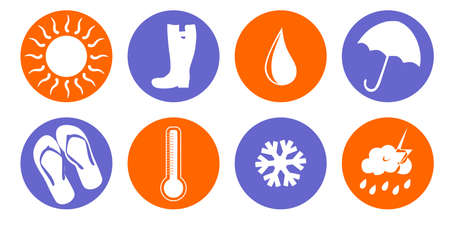 spring season: set of icons on various weather conditions - sunny, rainy, cold. Illustration