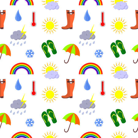 cold weather: seamless background on various weather conditions - sunny, rainy, cold.