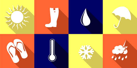 humid: set of icons on various weather conditions - sunny, rainy, cold. Illustration