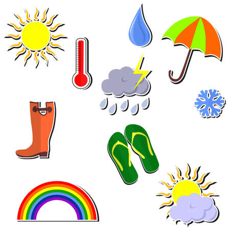 cold weather: set of icons on various weather conditions - sunny, rainy, cold. Illustration