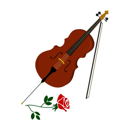 rehearsal: the illustration of a beautiful rose and cello.