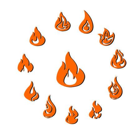 different shapes: illustration of a set of flames of different shapes. Illustration