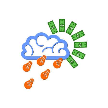brings: illustration on the theme - the ideas brings money. Illustration