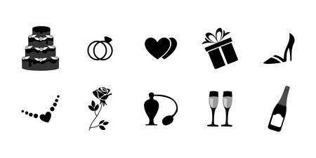 結婚式のテーマのアイコンの設定、イラスト。