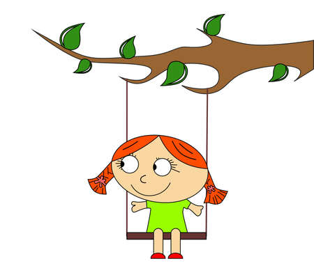 illustration in a childrens style, with a girl on a swing. Illustration