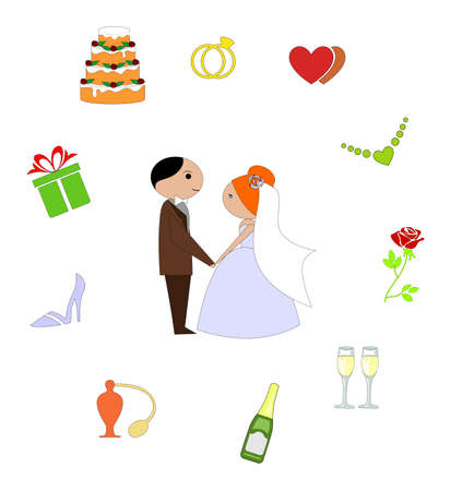 wedding rings: the illustration - set of icons on a theme of wedding.