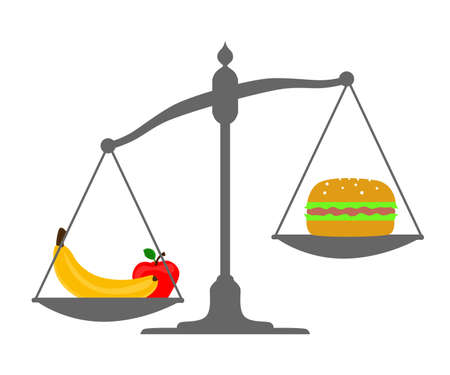 harmful: Illustration devoted to a choice between healthy and harmful foods.