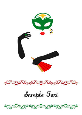 belle dame: illustration dedicated to the beautiful lady in a mask and gloves.