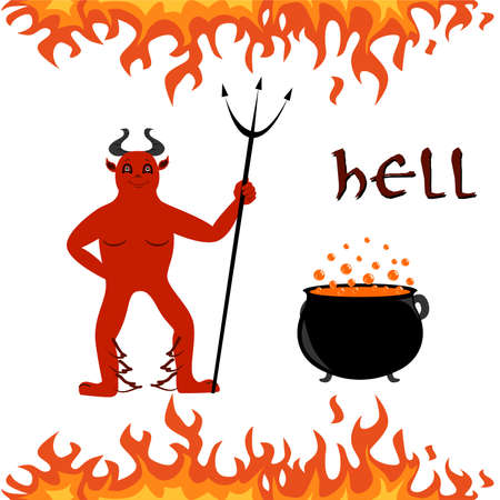 boiler: illustration on the theme of hell - fire, heck and the boiler.