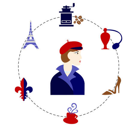 traditions: set of elements dedicated to the traditions and culture of france. Illustration