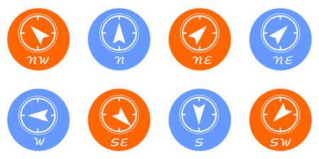 puntos cardinales: Icono de conjunto que muestra los cuatro puntos cardinales. Vectores
