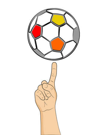 holds: the illustration with painted hand that holds the ball.