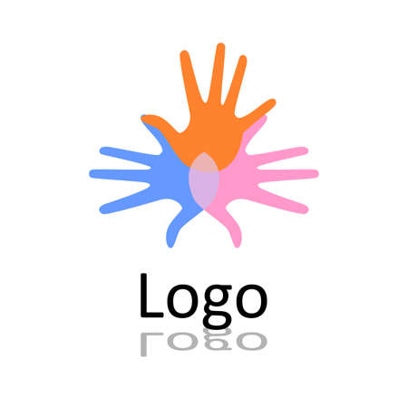 mutual help: the vector logo consisting of a human hands. Illustration