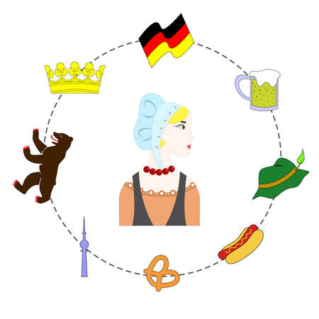 crown spire: set of elements dedicated to the traditions and culture of love germany. Illustration