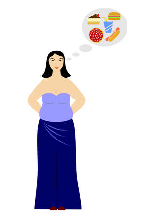 unhealthy thoughts: illustration with fat woman who thinks about food.