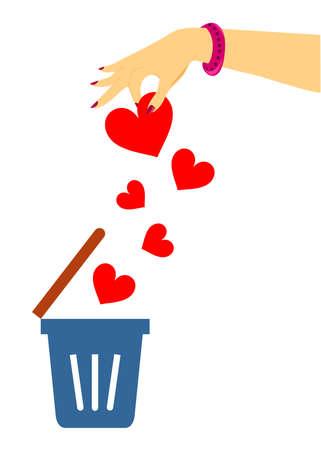 unrequited love: Ilustraci�n de una mujer en el tema del amor no correspondido.