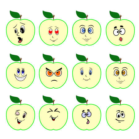 apple juice: the Illustration dedicated to the funny apples with faces.