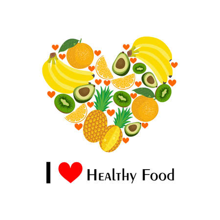 care: the illustration with fruits dedicated to healthy eating. Illustration