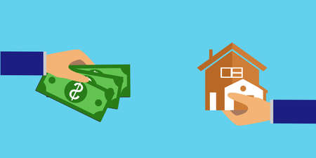 buying real estate: the illustration of a concept on the theme of purchase. Illustration