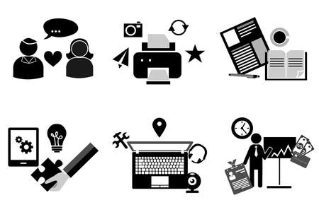 credit card business woman: set of symbols in the style of a flat design on the theme of business and technology. Illustration