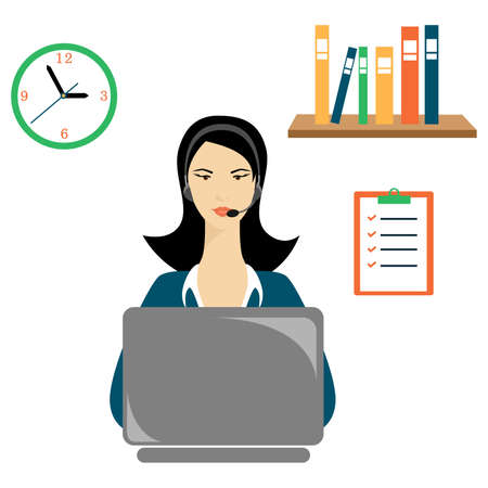 salaries: illustration on the theme of work in the office - work as operator.
