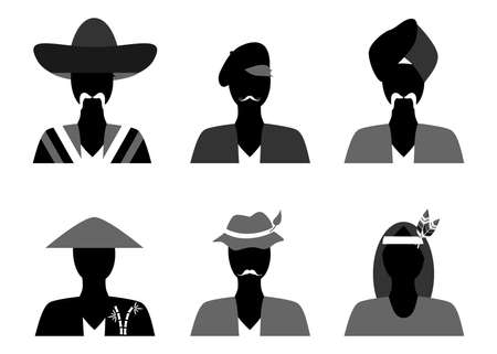 french ethnicity: set of silhouettes of people of different nationalities in their national costumes.