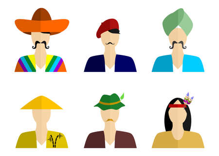 chinese american ethnicity: set of silhouettes of people of different nationalities in their national costumes.