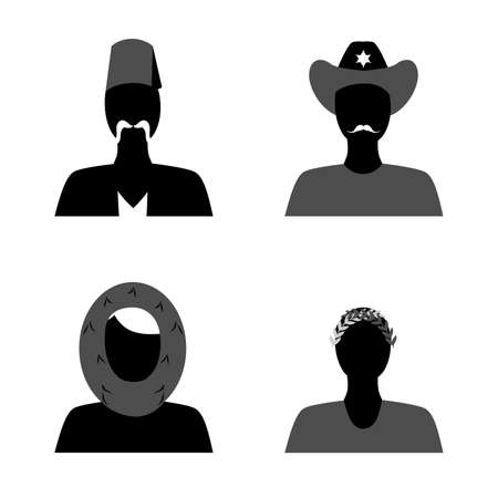 nationalities: set of silhouettes of people of different nationalities in their national costumes.
