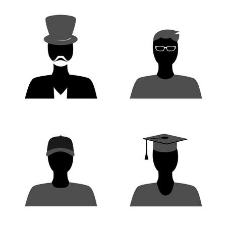 graduation suit: the set of silhouettes of the different peoples.