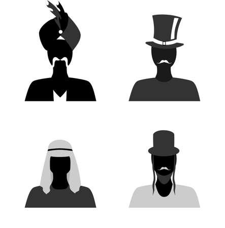 national: conjunto de siluetas de personas de diferentes nacionalidades en sus trajes nacionales.