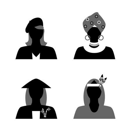 french ethnicity: set of silhouettes of womans of different nationalities in their national costumes.