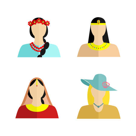 ukrainian ethnicity: set of silhouettes of womans of different nationalities in their national costumes.