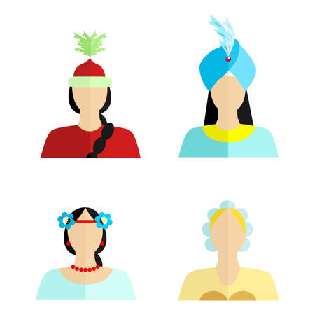 nationalities: set of silhouettes of womans of different nationalities in their national costumes.