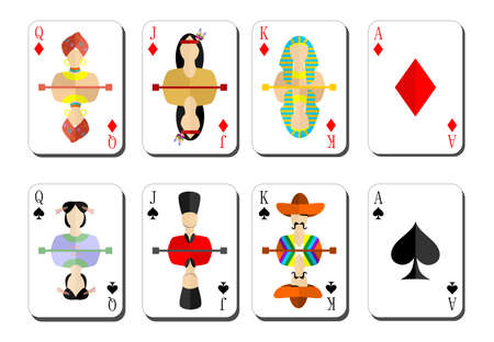 queen of diamonds: beautiful and original set of designer playing cards in the style of flat design.