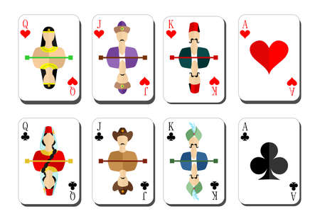 cards poker: beautiful and original set of designer playing cards in the style of flat design.