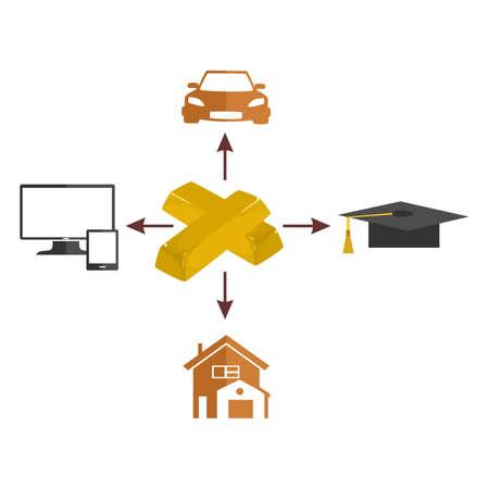bullion: illustration dedicated to wealth with gold bullion.