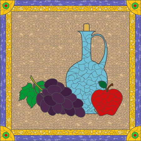 still life: the illustration with stained glass and still life.