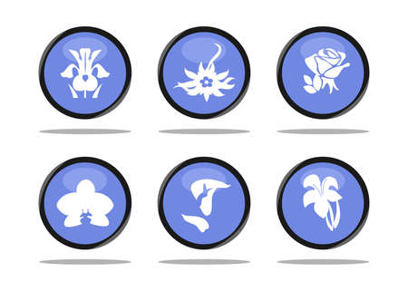 glamors: the icon set with beautiful different flowers.