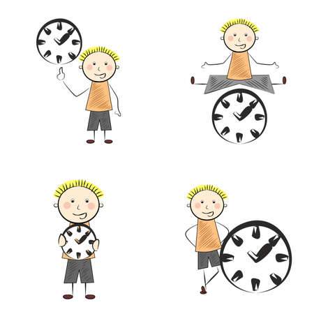 teen boy: Illustration in the style of comics with a man and clock. Illustration