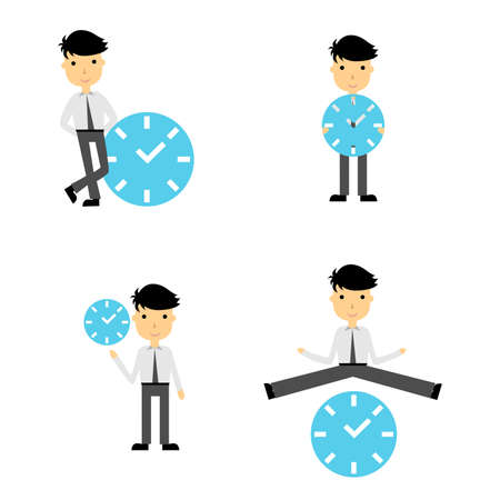 time: Illustration in the style of comics with a man and clock. Illustration