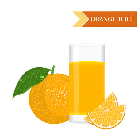 still life food: illustration with juicy and tasty fruits - oranges and orange juice. Illustration