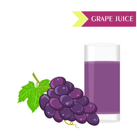 still life food: illustration with juicy and tasty fruits - grapes and grape juice. Illustration