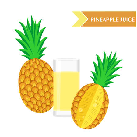pineapple juice: illustration with juicy and tasty fruits - pineapples and pineapple juice.