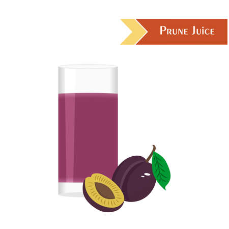 tasty: illustration with juicy and tasty fruits - plums and prune juice. Illustration